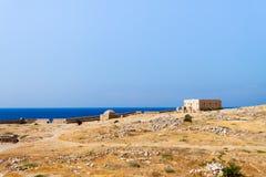 Panoramautsikt av väggarna av fästningen av Rethymno royaltyfri bild