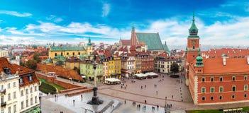 Panoramautsikt av Warszawa Arkivfoto