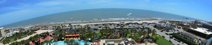 Panoramautsikt för Galveston östrand royaltyfri foto