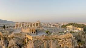 Panoramautsikt för längd i fot räknat för akropolParthenon flyg- stock video