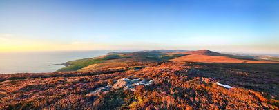 Panoramautsikt från Cronk ny Arrey Laa - ö av mannen Royaltyfri Fotografi