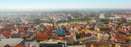 Panoramautsikt från den Ulm Munster kyrkan, Tyskland Royaltyfria Bilder