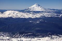 Panoramautsikt från den Villarica vulkan, Chile. Arkivbilder