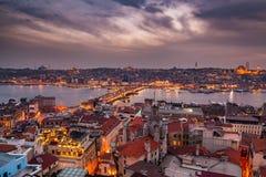 Panoramautsikt från det Galata tornet till det guld- hornet, Istanbul, Turkiet Fotografering för Bildbyråer
