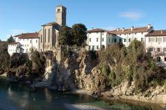 Panoramautsikt från jäkelns bro - Cividale del Friuli - Udine - Italien arkivfoto