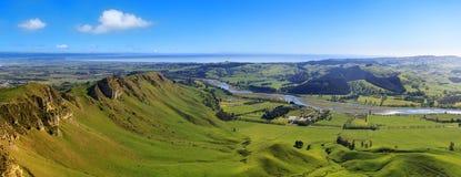 Panoramautsikt från Te Mata Peak, Nya Zeeland royaltyfria foton