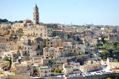 Panoramautsikt Matera för forntida stad, Italien Arkivbild