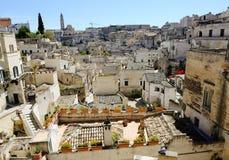 Panoramautsikt Matera för forntida stad, Italien Royaltyfri Bild