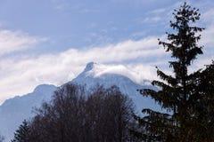 Panoramautsikt med landskap av fjällängberg i Salzburg arkivfoto