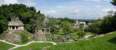 Panoramautsikt på arkeologisk plats för forntida Palenque Maya: fördärvar tempel royaltyfri fotografi