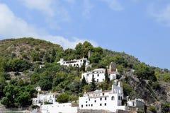 Panoramautsikt på bergen av Frigiliana - spansk vit by Andalusia Royaltyfri Fotografi