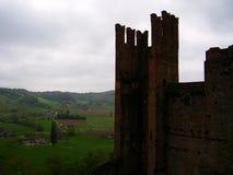 Panoramautsikt på Castell'arquato, Piacenza, Italien fotografering för bildbyråer