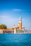 Panoramautsikt på den San Giorgio Maggiore ön, Venedig, Veneto, I Arkivfoto