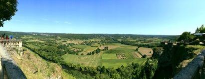 Panoramautsikt på Dordogne flods dal arkivbilder