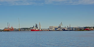Panoramautsikt på hamnen av hamnen av Sølyst, Stavanger, Norge fotografering för bildbyråer