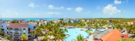 Panoramautsikt på hotell, Cayo Largo, Kuba Arkivbild