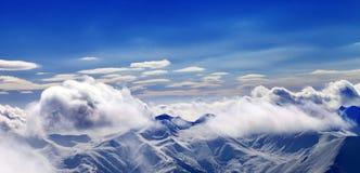 Panoramautsikt på jullandskap med fallande snö Fotografering för Bildbyråer