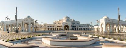 Panoramautsikt på Qasr Al Watan, slott av nationen, Abu Dhabi arkivbild