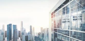 Panoramautsikt på staden av skyskrapor Visuella effekter som är breda Arkivbild