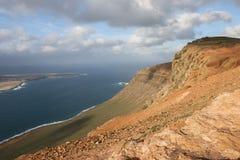 Panoramautsikt på den Lanzarote ön Arkivfoton