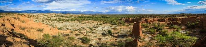 Panoramautsikt Tatacoa öken, Colombia Arkivbilder