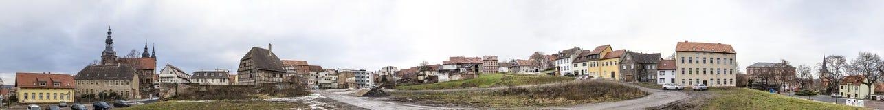 Panoramautsikt till byggnader i Eisleben Arkivbild
