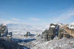 Panoramautsikt till Meteora, Varlaam och Megala meteorakloster arkivfoto