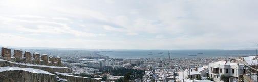 Panoramautsikt till Thessaloniki arkivfoto
