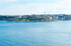 Panoramautsikt till villan Bighi Arkivfoton