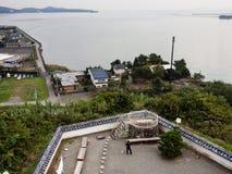 Panoramautsikt uppifrån av den Kitsuki slotten - Oita prefektur, Japan arkivbilder