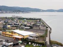 Panoramautsikt uppifrån av den Kitsuki slotten - Oita prefektur, Japan arkivfoto
