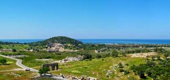 Panoramautsikten av antikviteten fördärvar i Patara, det Antalya landskapet, arkivbild