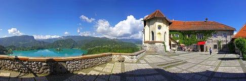 Panoramautsikten av Bled slotten ovanför sjön blödde, Slovenien Arkivfoto