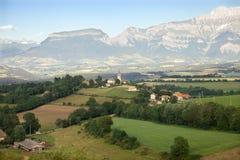 Panoramautsikten av dalen i Haute Savoie Fotografering för Bildbyråer