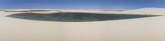 Panoramautsikten av den Lençà ³en är den Maranhenses nationalparken, Maranhão, Brasilien Arkivfoton