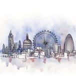 Panoramautsikten av den London vattenfärgen arkivfoto