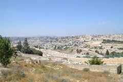 Panoramautsikten till Jerusalem den gamla staden och tempelmonteringen, kupol av vaggar från Mt av oliv Israel royaltyfria bilder