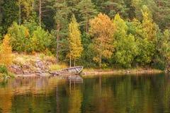 Panoramautsikter av ön av Valaam skäller med det översvämmade gamla träfartyget Den nordliga delen av Lake Ladoga Republik av Kar Arkivfoton