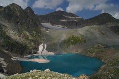 Panoramautsikter av den blåa bergsjön Arkivfoto