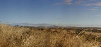 panoramautsikter av den torr gräs- torka slågna lantgården arkivfoton