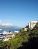 Panoramautsikthamnport Monte Carlo Monaco Europe Arkivbilder