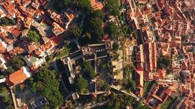 Panoramautsiktslott av den SaoJorge Lisbon antennen lager videofilmer