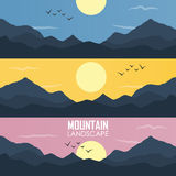 Panoramavektorillustration av bergkanter Royaltyfri Foto