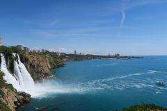 Panoramaview of Duden Waterfall and Lara Beach in Turkey Royalty Free Stock Photography