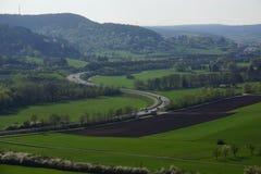 Panoramavisionsstraßenwiese und -wald stockbild