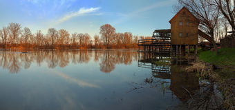 panoramawatermill Royaltyfri Foto