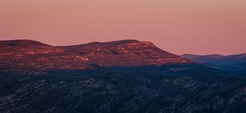 Panoramic beautiful sunrise scenery of mountains in Spain. Golden hour scene royalty free stock image