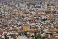 Panorame de grands hauses de ville à Malaga Espagne Photo stock