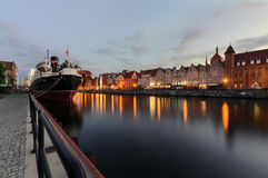 The panorame of Gdansk cityscape, in the evening Stock Photo