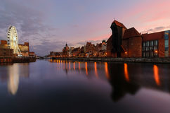 The panorame of Gdansk cityscape, after sunset. Poland Royalty Free Stock Photos